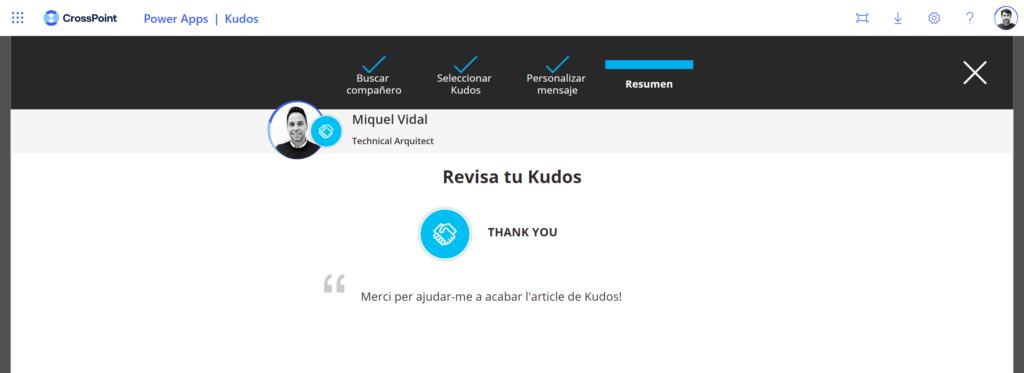 Power App Kudos reconocimiento