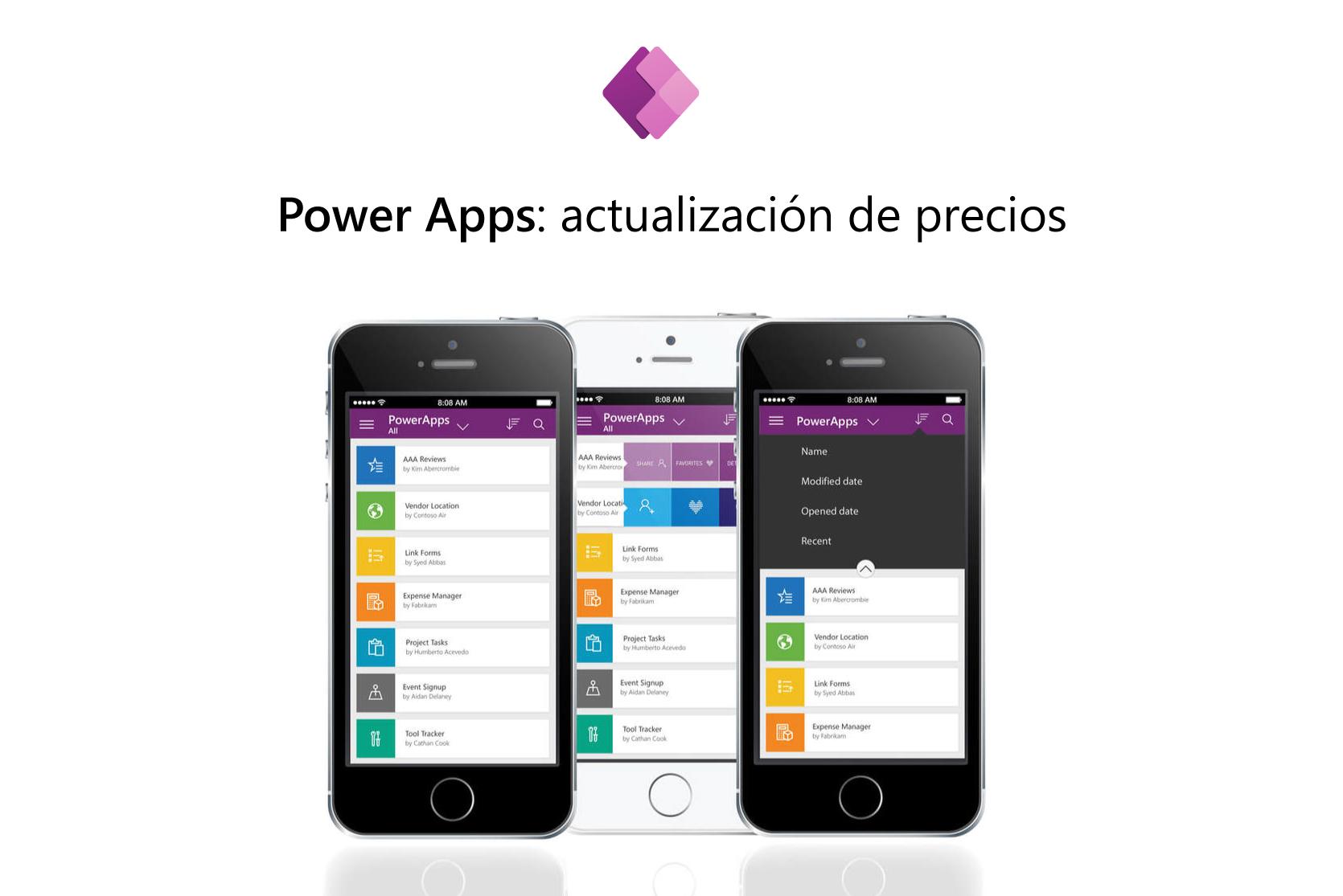 Nuevos precios de Power Apps - en la imagen dos teléfonos móviles con la plataforma en pantalla